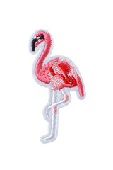 Pink flamingo embroidered patch isolated on white background