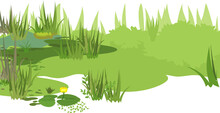 Abstract Marsh Landscape With Green Plants