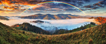 Rainbow Over The Mountains. Autumn Morning In The Carpathians