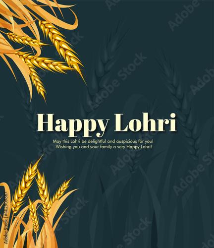 vector illustration of Happy Lohri holiday festival of Punjab India with beautiful background