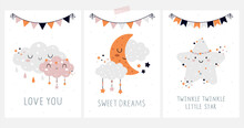 Hand Drawn Nursery Card Set. Clouds, Moon, Little Star, Flags. Cute Baby Illustrations With Lettering. Love You, Sweet Dreams, Twinkle Little Star. Childish Print For Greeting Card, Poster, Decoration
