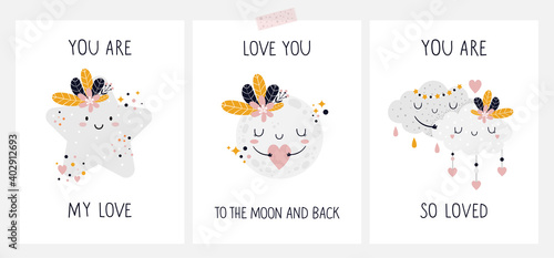 Fotografie, Obraz Hand drawn cards, posters with cute baby characters and lettering