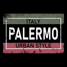 Palermo Lettering In Original Style. European City Typographic Script Font For Prints, Advertising, Identity. Hand Drawn Touristic Art In High Quality. Travel And Adventure