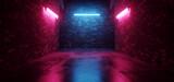 Fototapeta Perspektywa 3d - Cyber Sci Fi Neon Tunnel Corridor  Fluorescent Club House Laser electric Grunge Brick Concrete Grunge Purple Blue Vibrant Hangar Room Studio Realistic Background 3D Rendering