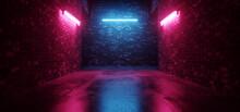 Cyber Sci Fi Neon Tunnel Corridor  Fluorescent Club House Laser Electric Grunge Brick Concrete Grunge Purple Blue Vibrant Hangar Room Studio Realistic Background 3D Rendering