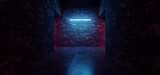 Fototapeta Perspektywa 3d - Cyber Sci Fi Neon Tunnel Corridor  Fluorescent Club House Laser electric Grunge Brick Concrete Grunge Purple Blue Vibrant Hangar Room Studio Realistic Background 3D Rendering