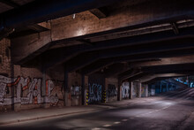 Dark Empty Dirty Grunge Underground Concrete Tunel With A Road During Mystic Night With Blue Street Lights