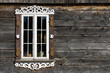 Wooden window background. Rustic cottage house wall. Vintage cabin white paint shutters. Countryside architecture texture.