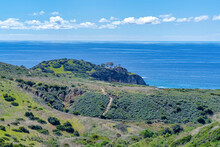 Crystal Cove State Park In Laguna Beach California With Cliff And Blue Ocean