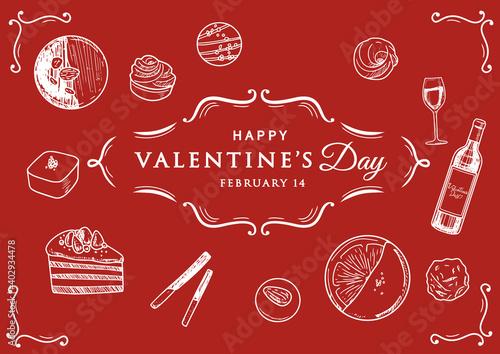 Canvas Print 手描きスケッチタッチ バレンタインチョコレート&ワインイラスト と アンティーク罫線のセット