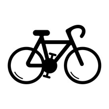 Simple Bicycle Silhouette Icon On White Background.