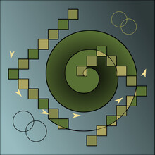 Abstract Image Of Green Spiral Surrounded By Variegated Green Spiralling Tiles And Embellishments