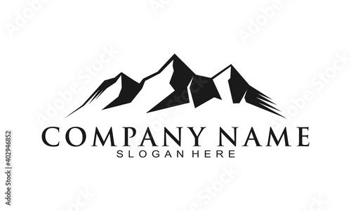 Black mountain illustration vector logo Fotobehang
