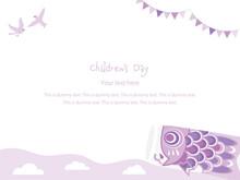 子どもの日の紫のポストカードのデザイン