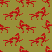 Seamless Animl Pattern With Fantastic Dragons. Ancient Chinese Ethnic Motif.