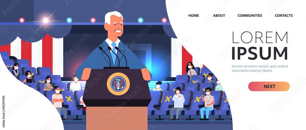 Fototapeta male president democrat winner of United States presidential election man giving speech from tribune USA inauguration day concept horizontal portrait copy space vector illustration