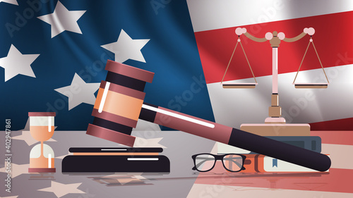Fototapeta gavel and judge book on USA flag american presidential inauguration day celebrat