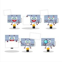 Roll Paint Brush Cartoon Character Bring Information Board