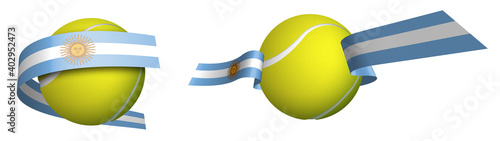 Cuadros en Lienzo sports tennis ball in ribbons with colors Argentina flag