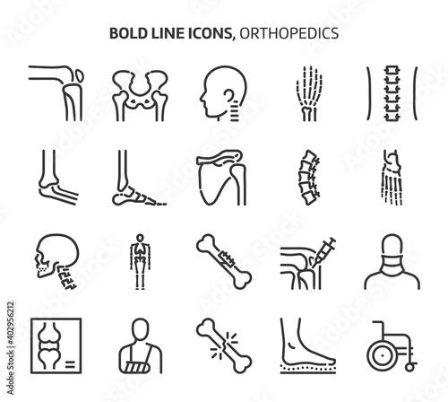 Stampa su Tela Orthopedics, bold line icons