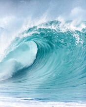 Beautiful Deep Blue Tube Wave In The Ocean