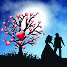 Man And Women Romantic Under The Moonlight , Vector Illustrations