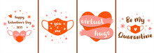 Covid Valentines Card Set. Pink Social Distance Banner. Pink Face Mask, Heart In Medical Mask, Virtual Hugs