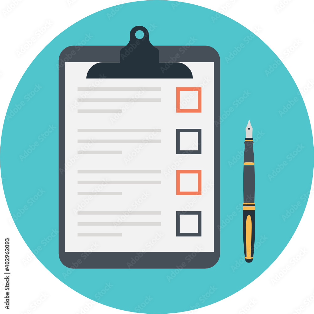 Fototapeta Todo list and planning project with office supplies, clipboard with blank checklist vector illustration