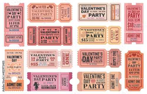 Canvas Valentines Day party ticket vector templates with love holiday Cupids, red hearts, arrows and bows