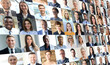 Happy group of multiethnic business people men and women. Different young and old people group headshots in collage. Multicultural faces looking at camera.