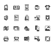 Photo Printing Flat Icon Set. Brand Identity Printed On Products Like Brochure, Banner, Mug, Plotter Black Silhouette Vector Illustrations. Simple Glyph Signs For Polygraphy