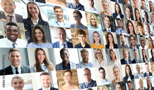 Obraz Happy group of multiethnic business people men and women. Different young and old people group headshots in collage. Multicultural faces looking at camera. - fototapety do salonu