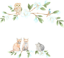 Watercolor Forest Frame With Cute Animals. Perfect For Decoration, Printing, Web Design, Various Souvenirs, Photo Albums And Other Creative Ideas.