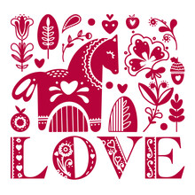 Abstract Folk Valentines Illustration Of Animals And Flowers. Valentines Card