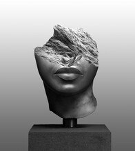 3D Rendering Illustration Of A Broken Fragment Of A Antique Head Sculpture With Pedestal Isolated On Gradient Grey Background.