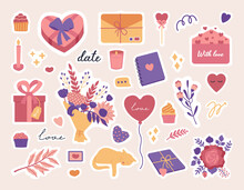 Valentines Day Stickers Set, Love Symbol Objects And Cute Lettering, Candy, Cards, Heart And Flowers Bouquet, Hand Drawn Trendy Modern Flat 14 February Kit In Flat Doodle Style, Pink And Violet Colors