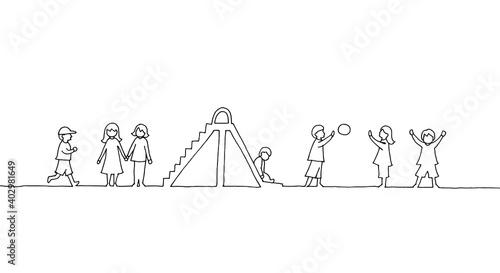 Obraz na plátne 遊ぶ子どもたちの線画イラスト