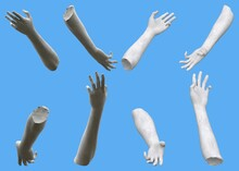 Set Of White Stone Statue Hand Detailed Renders Isolated On Blue, Lights And Shadows Distribution Example For Artists Or Painters - 3d Illustration Of Objects