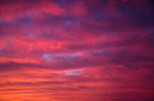 Incredible Colorful Sunset With Cloudy Sky. Photo Of Textured Sky.