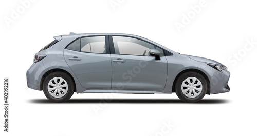 Grey hatchback car side view isolated on white background