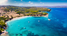 Panoramic Aerial View Of The Beach Koounoupi, Close To The Cosmopolitan Town Porto Heli, Pelponnese, Greece