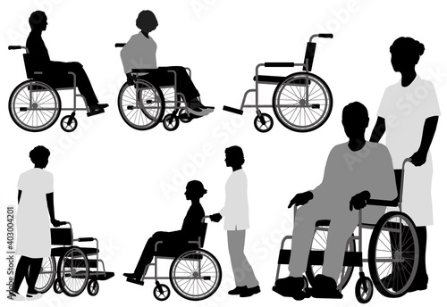 Fotografie, Tablou 車椅子利用者のシルエットイラストセット