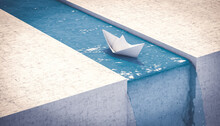 Paper Boat Sailing To A Waterfall. Concept Of Unexpected Problems.
