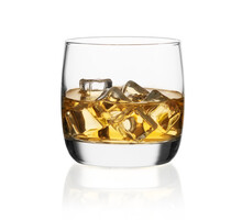 Single Malt Whiskey With Ice In A Glass Isolated On White Background With Clipping Path