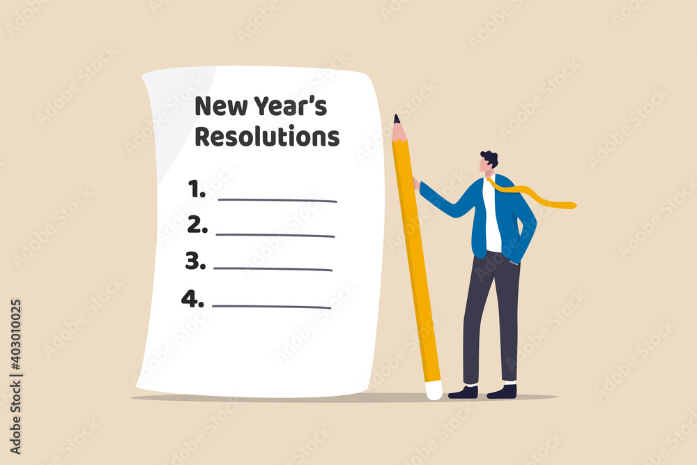 Fototapeta New year's resolutions, set goal or business target for new year or beginning with work challenge concept, smart businessman holding big pencil thinking about new year's resolution on notepad paper.