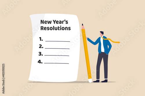 Obraz New year's resolutions, set goal or business target for new year or beginning with work challenge concept, smart businessman holding big pencil thinking about new year's resolution on notepad paper. - fototapety do salonu