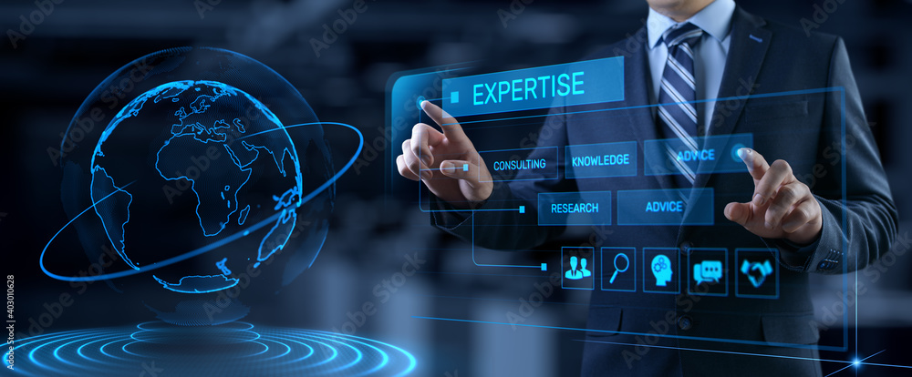 Fototapeta Expertise business consulting concept. Businessman pressing button on screen.