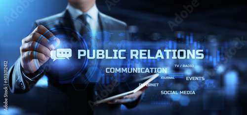 PR Public relation management. Business communications concept.