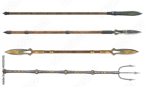 Canvas Print collection long spear, weapon, on an isolated white background