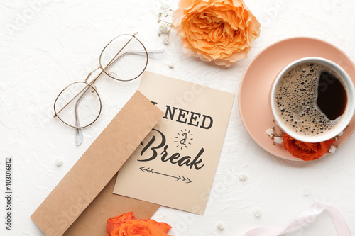 Canvas-taulu Card with text I NEED A BREAK, envelope and cup of coffee on white background